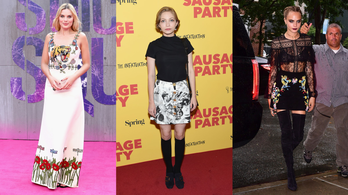 Margot Robbie, Tavi Gevinson and Cara Delevingne were into florals, knee-highs and thigh-highs. Photos: See gallery
