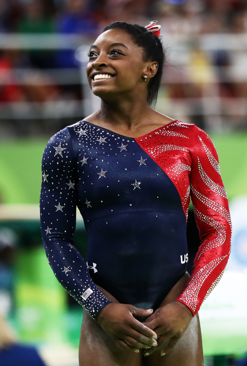 Simone Biles at Sunday's qualifications. Photo by Ezra Shaw/Getty Images