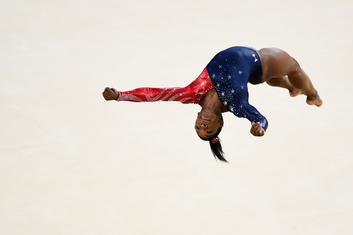 Simone Biles at Sunday's qualifications. Photo: David Ramos/Getty Images