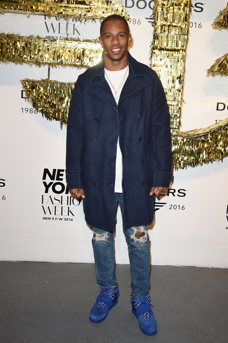 Victor Cruz and his impressive denim game at the Dockers x CFDA NYFWM opening party earlier this year. Photo: Nicholas Hunt/Getty Images