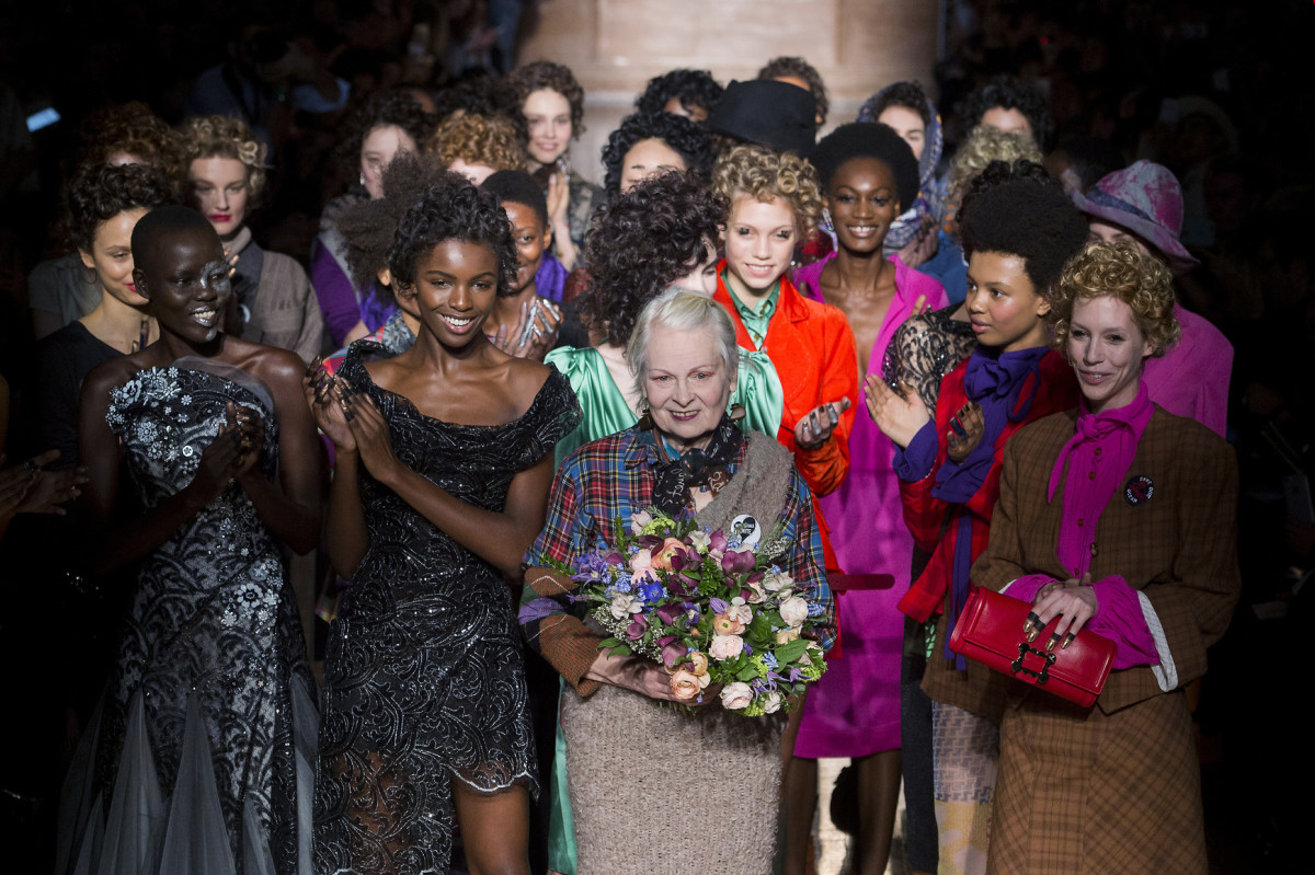Vivienne Westwood at the close of her eponymous fall 2016 show. Photo: Imaxtree