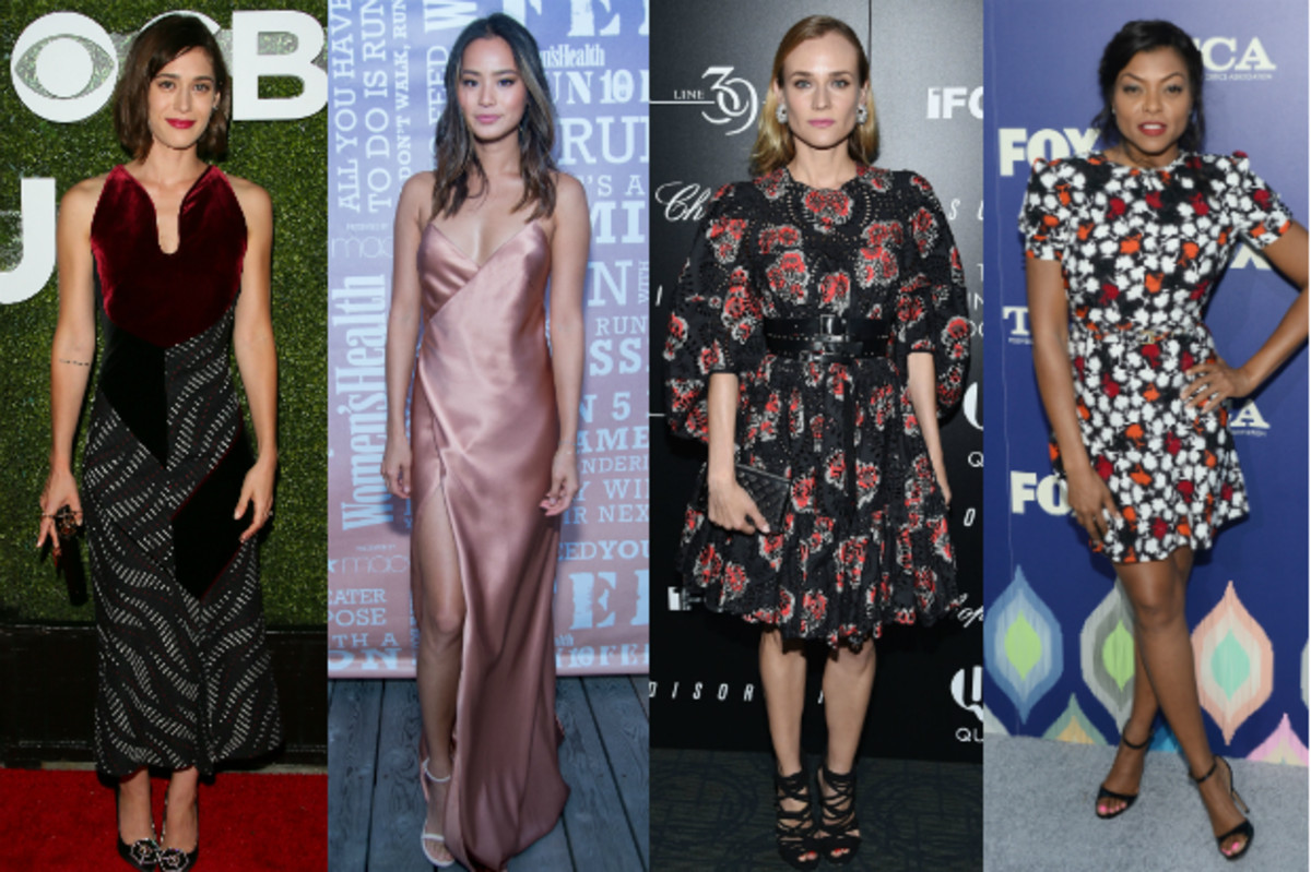 Lizzy Caplan in Roland Mouret. Photo: JB Lacroix/WireImage; Jamie Chung in Michelle Mason. Photo: Mark Sagliocco/Getty Images; Diane Kruger in Alexander McQueen. Photo: Dimitrios Kambouris/Getty Images; Taraji P. Henson in Emanuel Ungaro. Photo: Matt Winkelmeyer/Getty Images