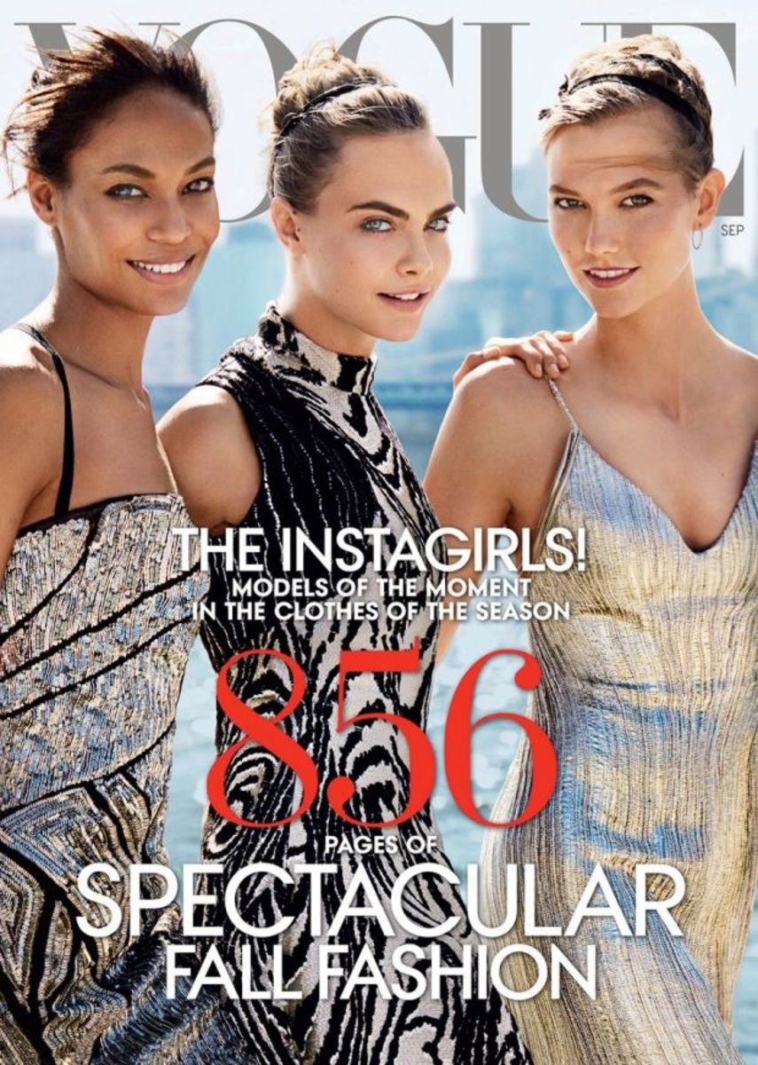 "The cover folded out to reveal six more faces. Photo: Mario Testino/""Vogue"""