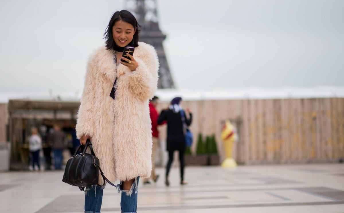 Margaret Zhang during Paris Fashion Week. Photo: Christian Vierig/Getty Images