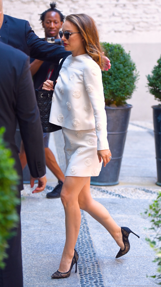 Natalie Portman in Valentino in Soho on Monday. Photo:Robert Kamau/GC Images