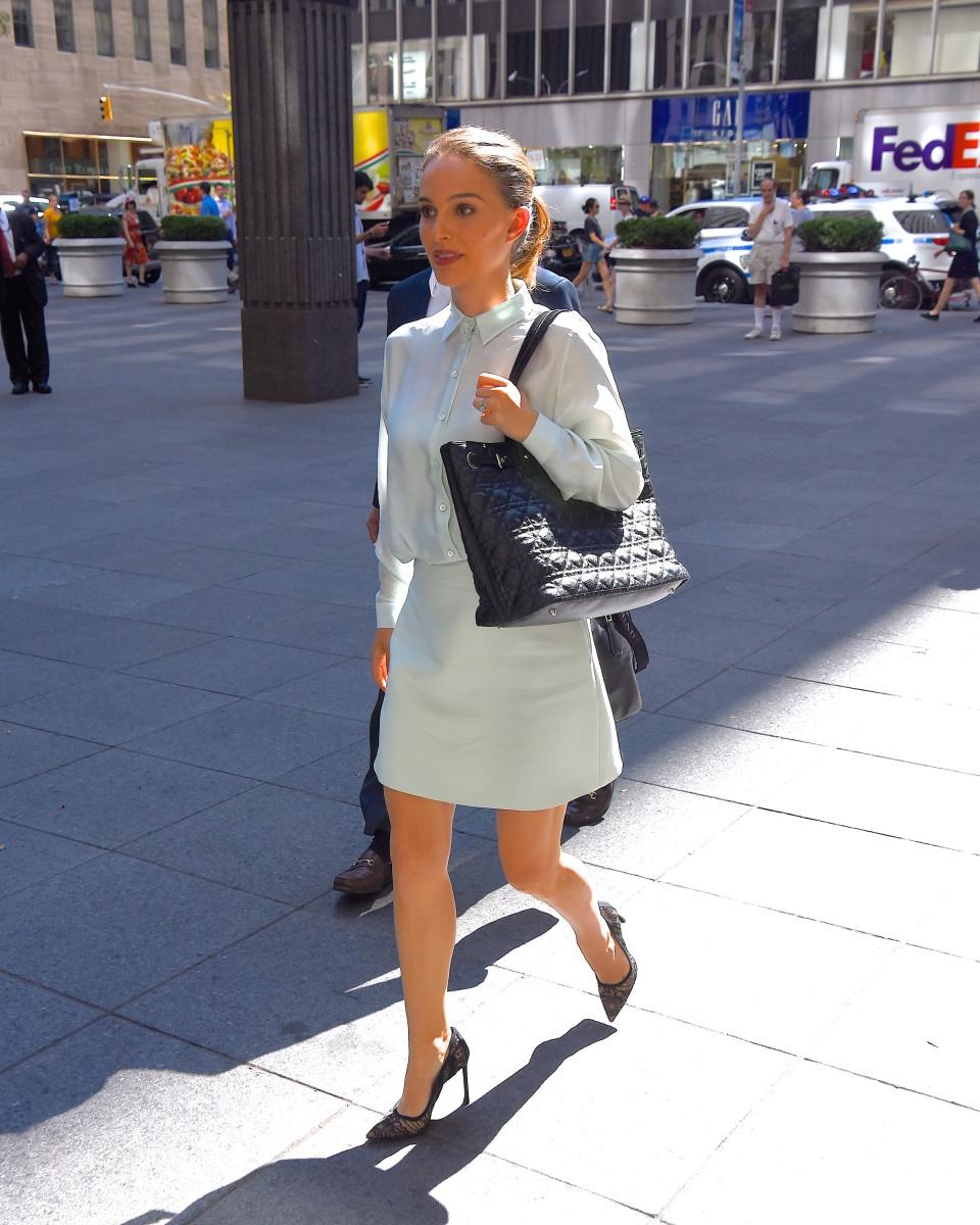 Natalie Portman in Dior in midtown on Monday. Photo:Robert Kamau/GC Images