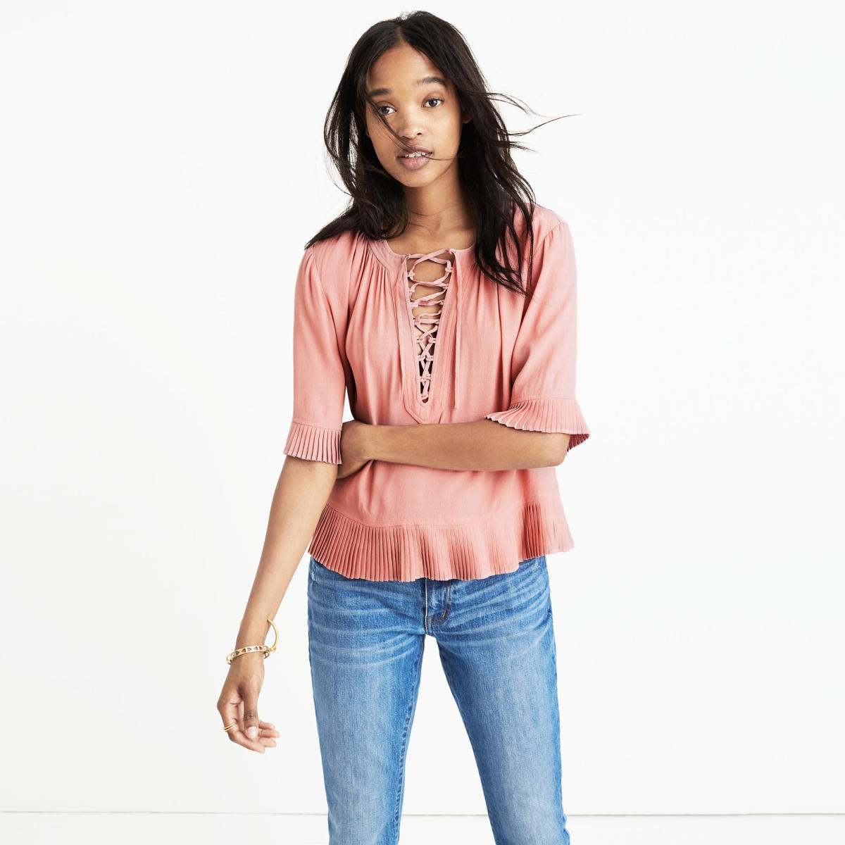 Madewell Sunpleat Lace-Up Top, $95, available at Madewell.