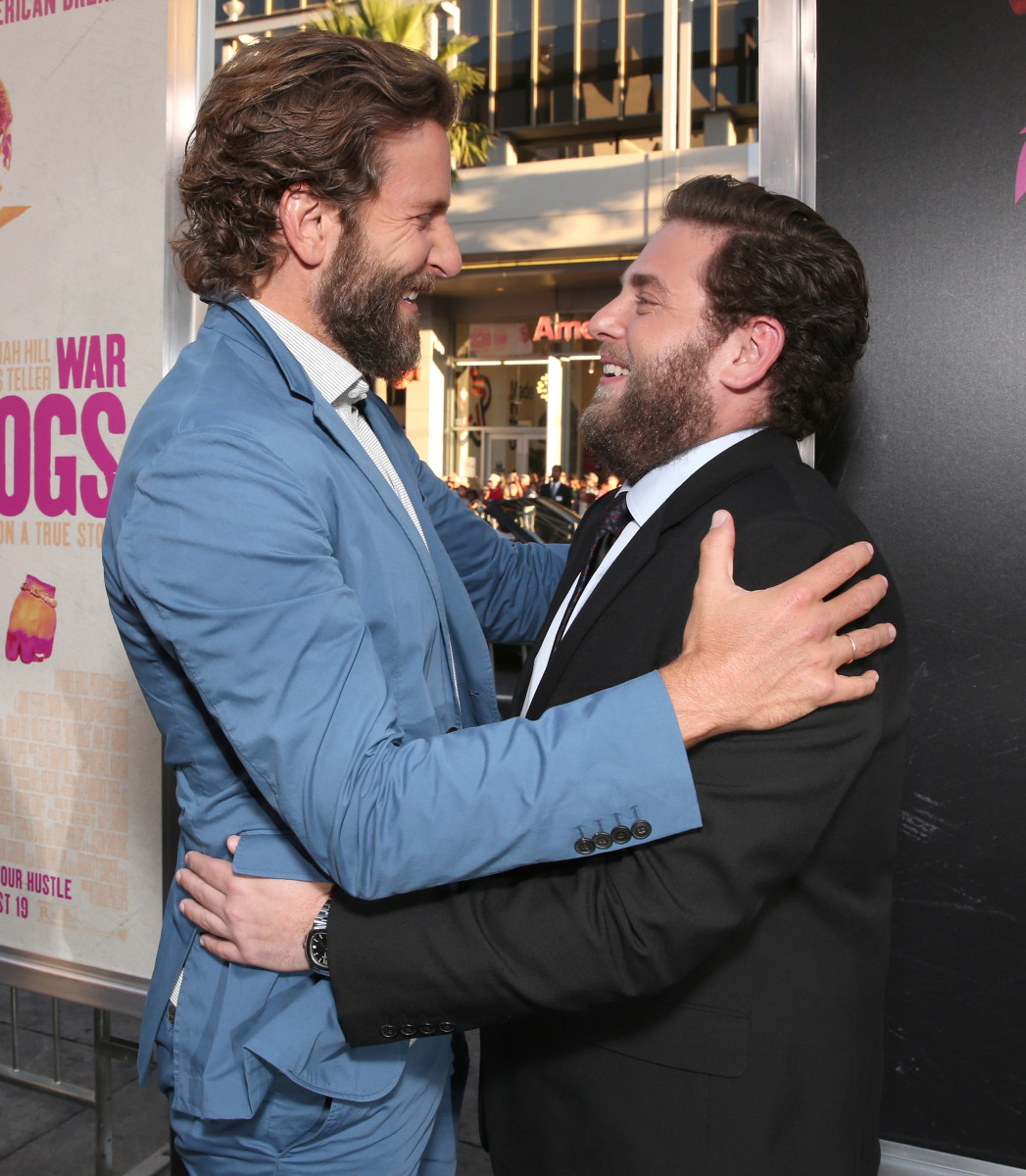 Bradley Cooper and Jonah Hill having so much fun in beards and suits. Photo: Todd Williamson/Getty Images