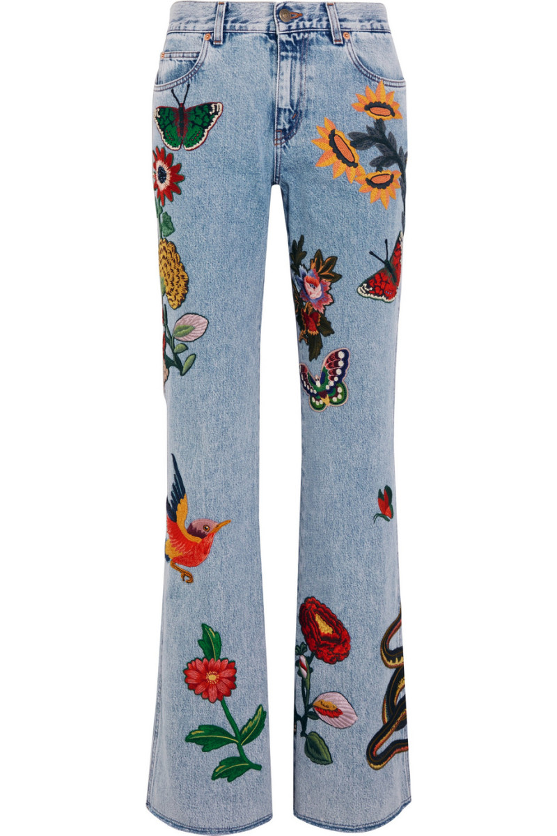 Gucci Appliquéd Mid-Rise Flared Jeans, $2,390, available at Net-a-Porter.