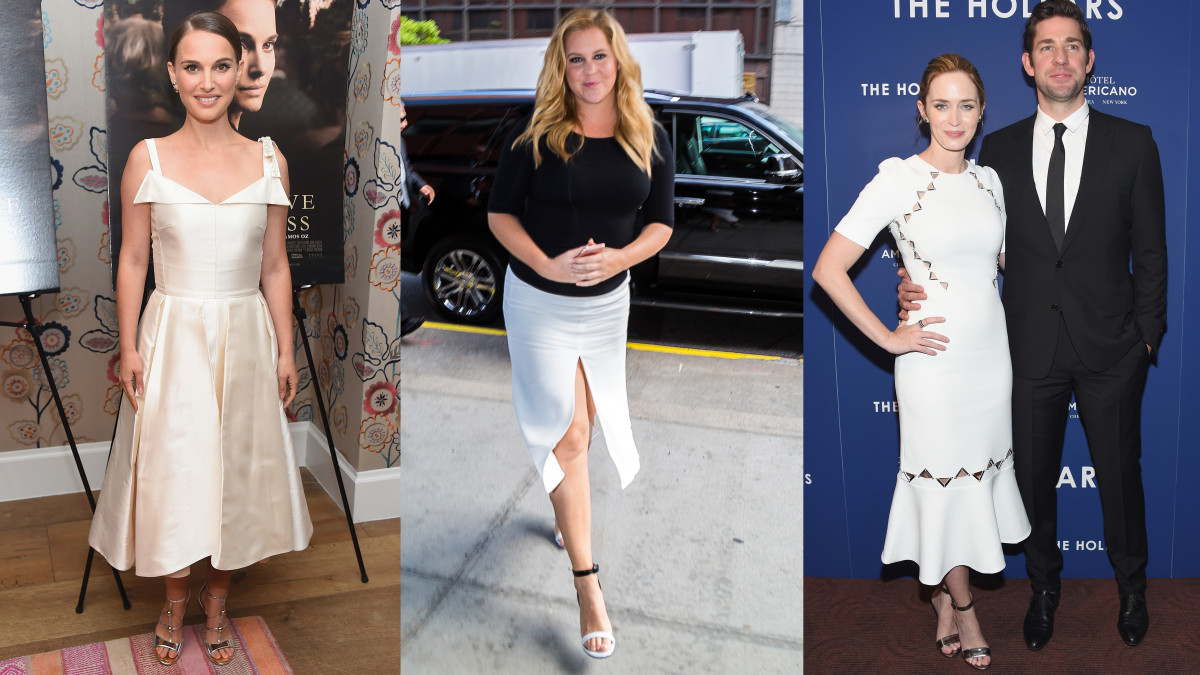 Natalie Portman in Dior, Amy Schumer and Emily Blunt in David Koma. Photos: Michael Loccisano/Getty Images, Alessio Botticelli/GC Images, Michael Loccisano/Getty Images