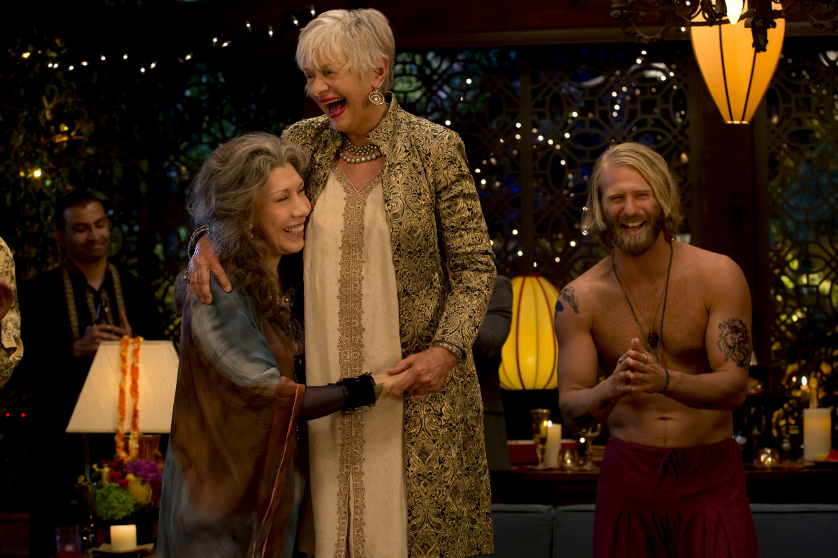 """Frankie brought it,"" says Fanger. ""Frankie went full-on and a more beautiful Frankie look that I think was very aligned with what she would wear to anything she thought was a fashionable, special moment. A special occasion."" Frankie (Lily Tomlin), Babe (Estelle Parsons) and a shirtless friend. Photo: Netflix"