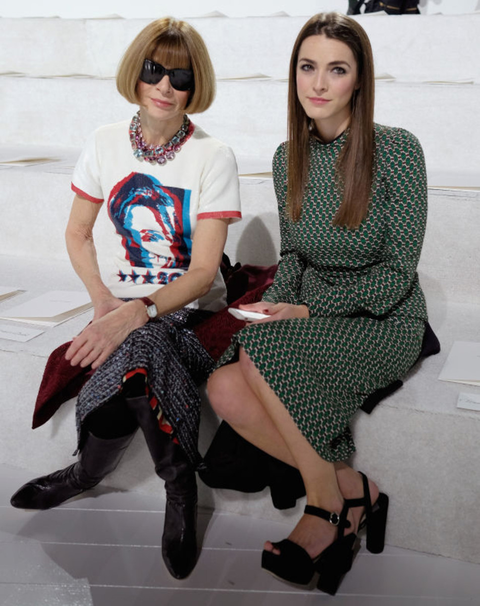 Anna Wintour wears a Marc Jacobs-designed Hillary Clinton T-shirt with daughter Bee Shaffer at his fall/winter 2016 show in February. Photo: Dimitrios Kambouris