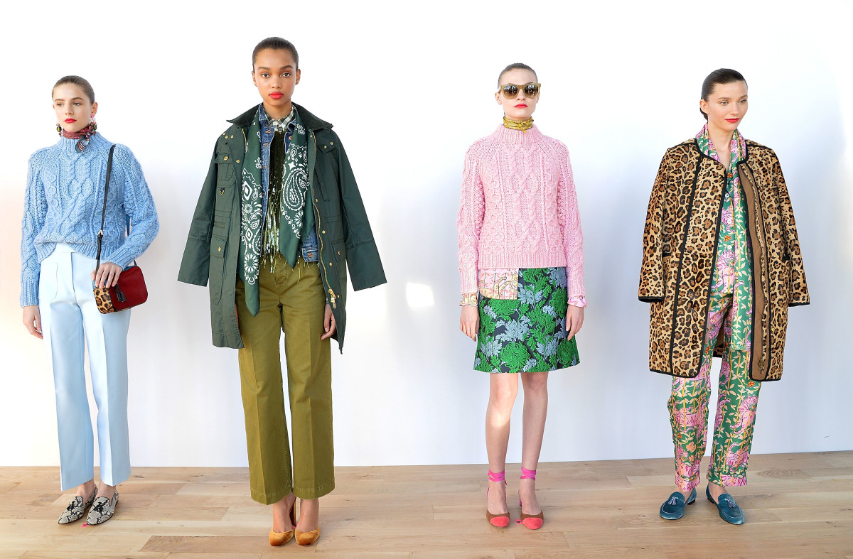 Looks from J.Crew's Fall 2016 presentation. Photo: Getty Images