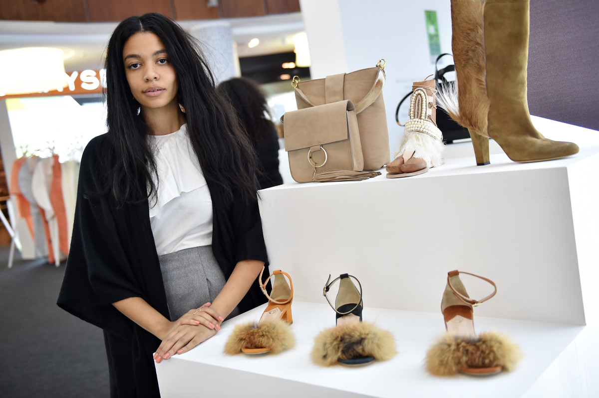 Designer Aurora James with Brother Vellies sandals at the Designer Showcase during the Vogue Fashion Dubai Experience 2015. Photo: Getty Images