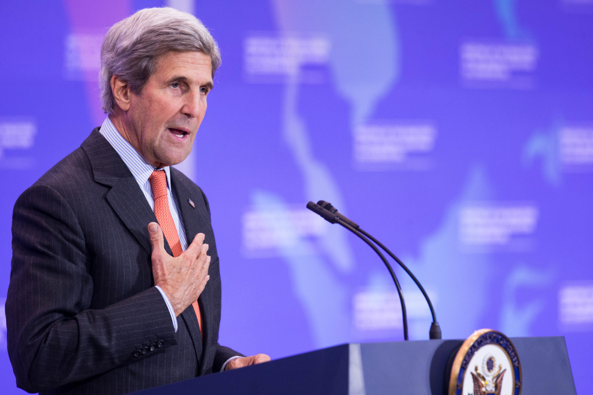 John Kerry at a press conference in Washington, D.C. Photo: Zach Zibson/Getty Images