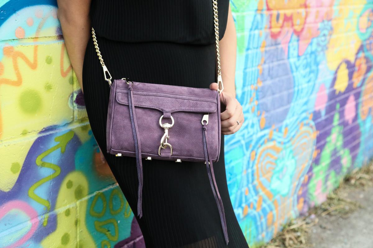 """Rebecca Minkoff """"Mini M.A.C. Crossbody"""" in Aubergine. Photo: Nina Frazier Hansen/Fashionista"""