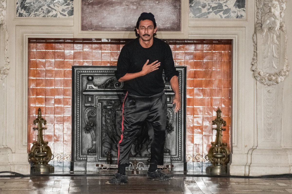 Designer Haider Ackermann at his Fall/Winter 2016-2017 menswear show in January. Photo: Getty Images