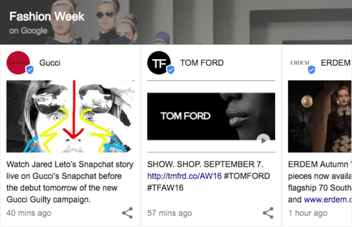 "Google ""fashion week"" and you'll see something like this. Screengrab: Google"