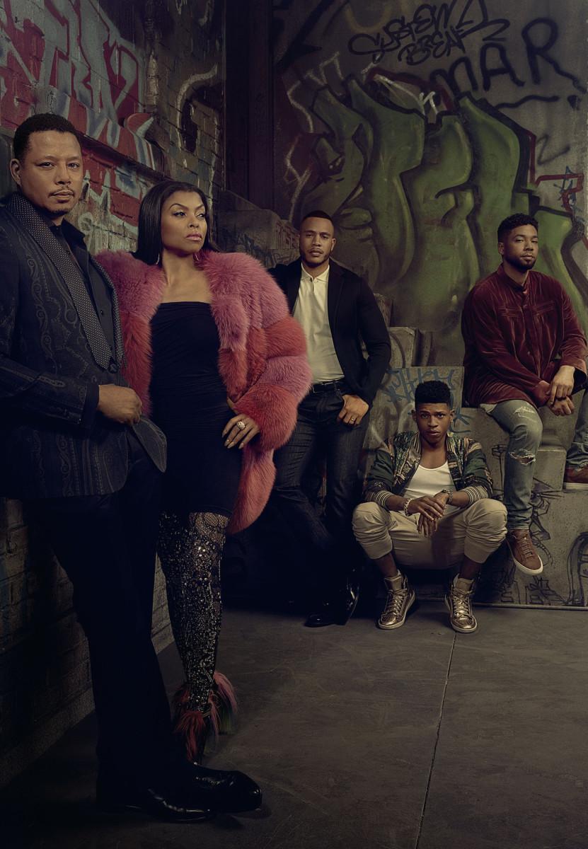 L-R: Terrence Howard, Taraji P. Henson, Trai Byers, Bryshere Gray and Jussie Smollett pose for 'Empire' season three. Photo:Michael Lavine/FOX