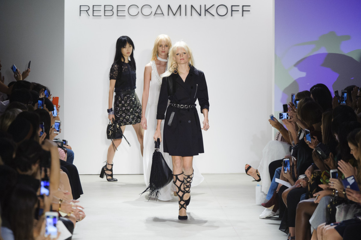 The finale walk at Rebecca Minkoff spring 2016. Photo: Imaxtree