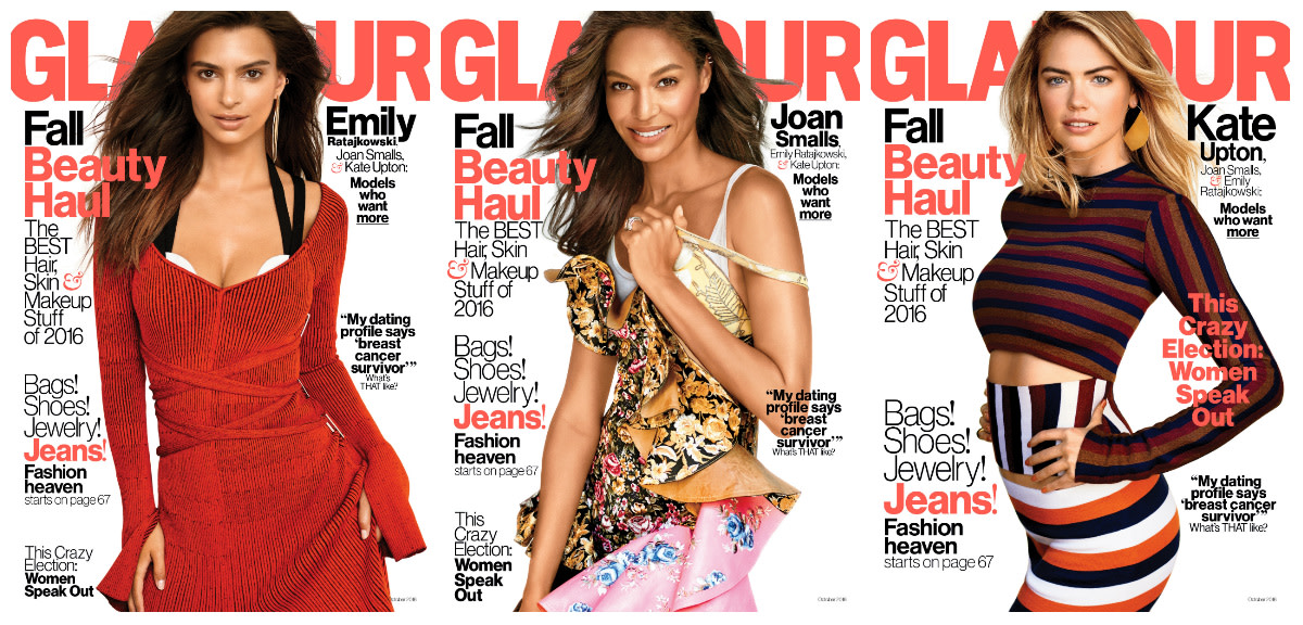 "Emily Ratajkowski, Joan Smalls and Kate Upton on the October 2016 issue of ""Glamour."" Photos: Carter Smith"