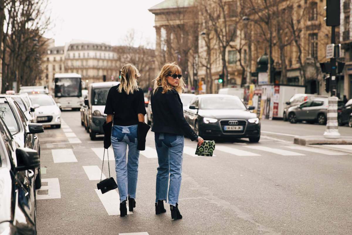 Celine Aagard and Annabel Rosendahl on the street at Paris Fashion Week. Photo: Emily Malan/Fashionista