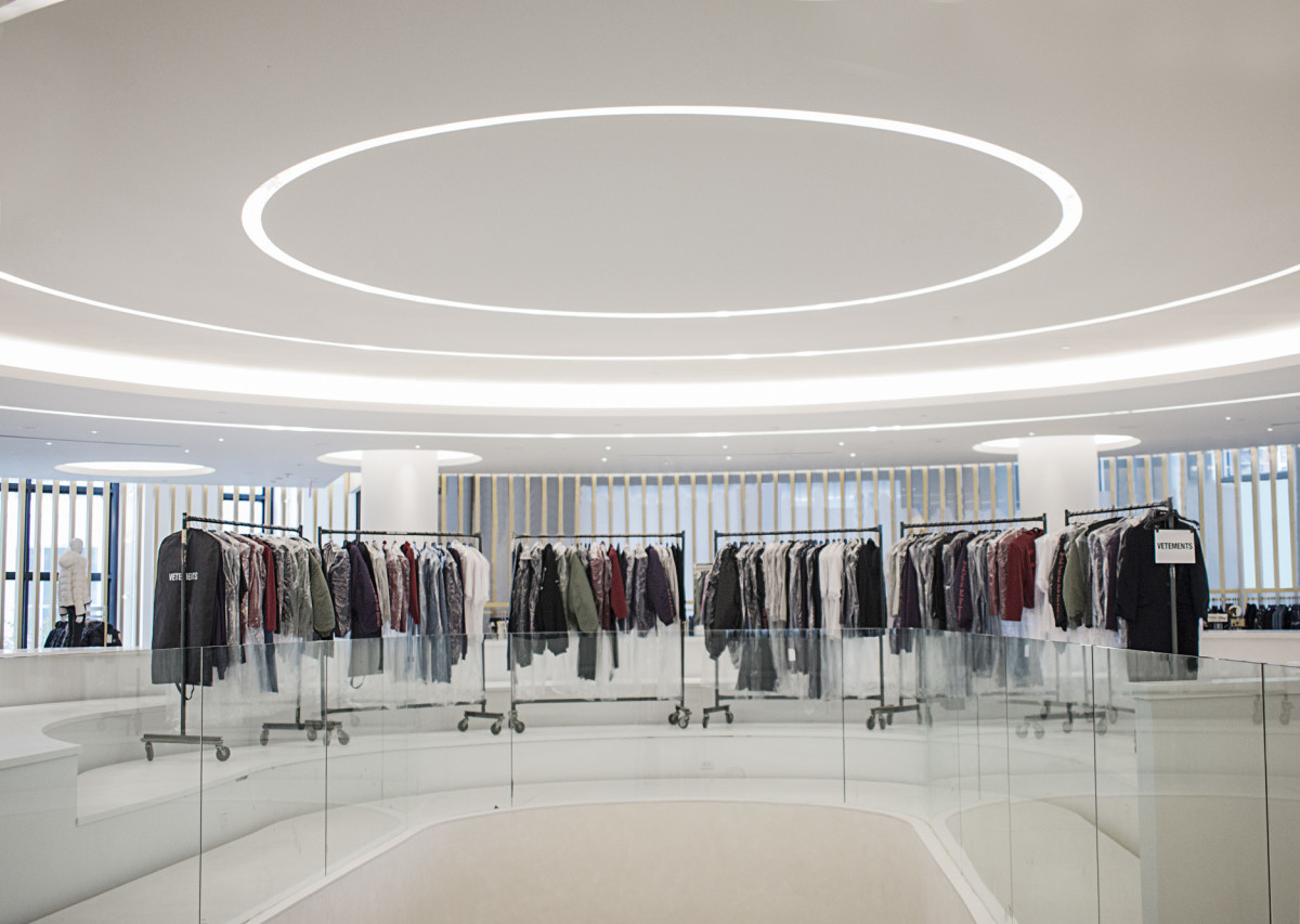"""A Vetements """"installation"""" at Saks Downtown. Photo: Romer Pedron for Saks Fifth Avenue"""