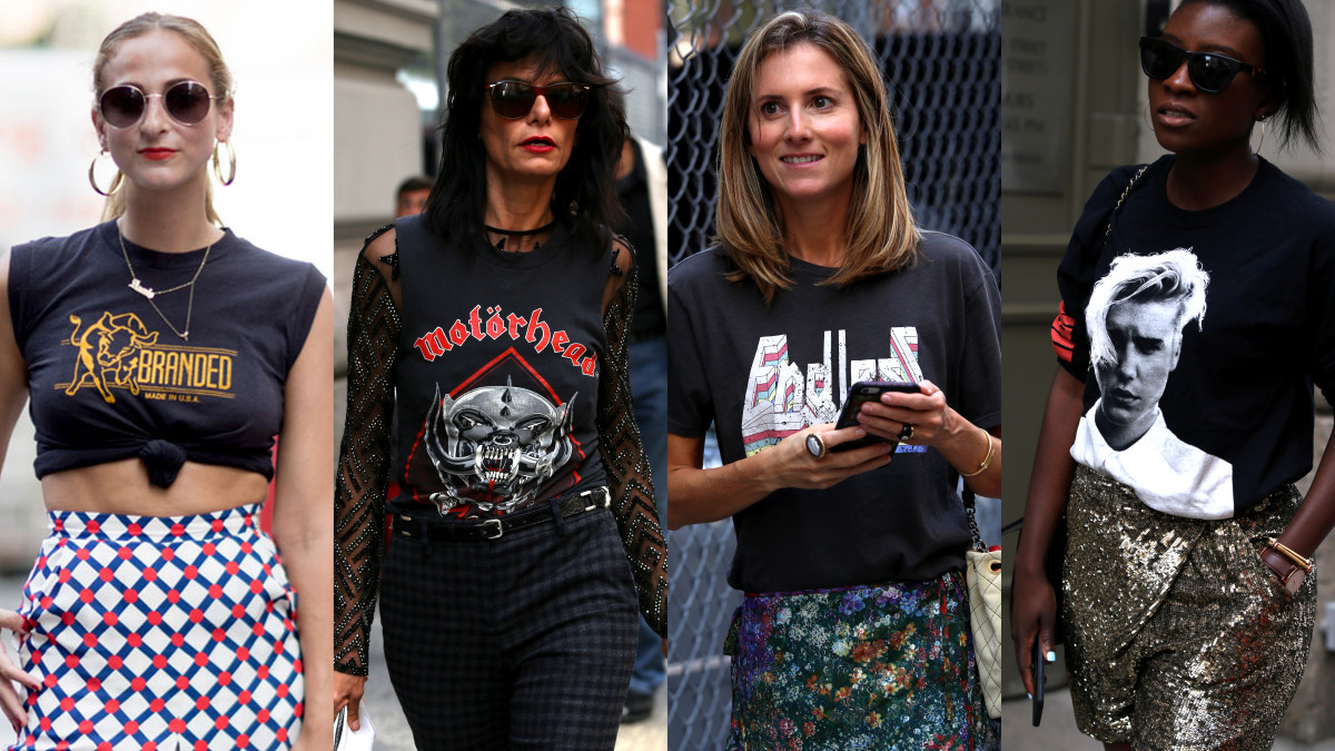 "Refinery29's Annie Georgia Greenberg; showgoer in ""Motörhead"" shirt; Teen Vogue's Marina Larroude; Elle.com's Nikki Ogunnaike."