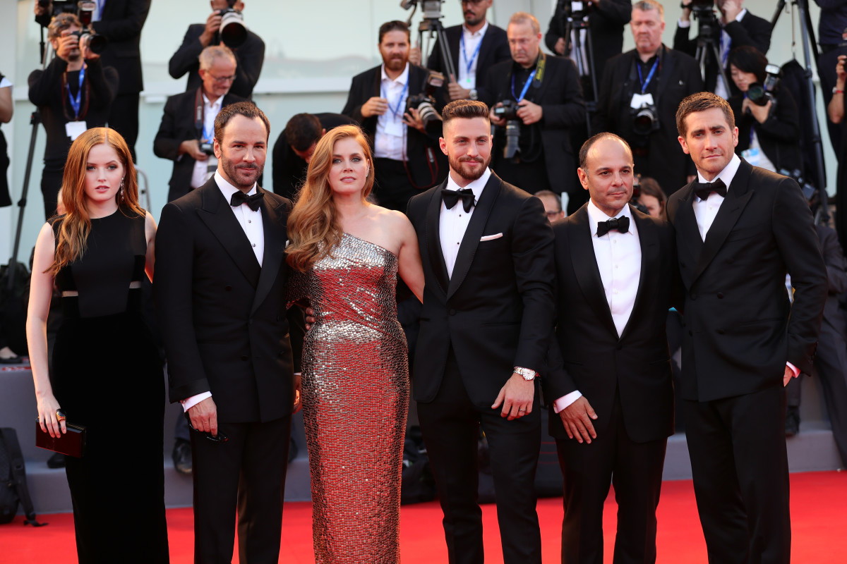 Ellie Bamber, Tom Ford, Amy Adams, Aaron Taylor Johnson, Robert Salerno and Jake Gyllenhaal at the Venice Film Festival. Photo: Vittorio Zunino Celotto/Getty Images