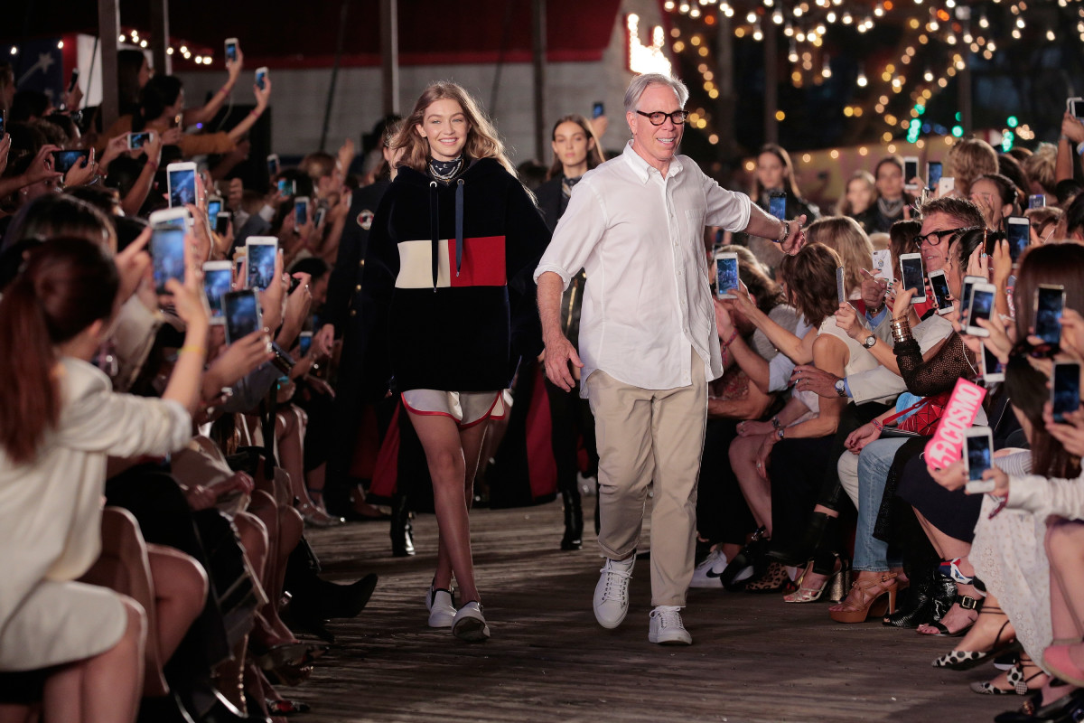 Gigi Hadid and Tommy Hilfiger take the finale at Tommy Pier. Photo: Getty Images