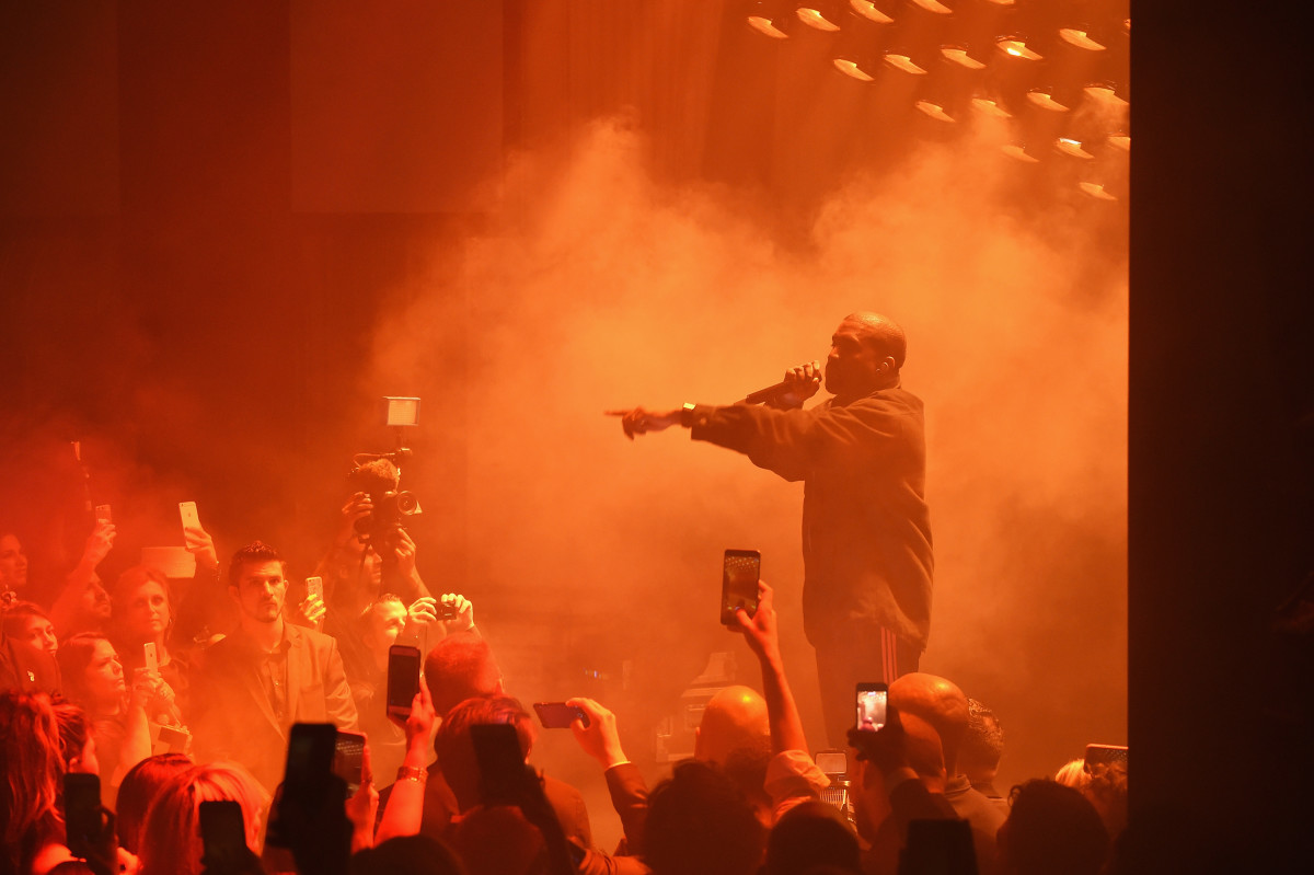 """Kanye West performing at Carine Roitfeld's """"Harper's Bazaar"""" Icons party on Friday in New York City. Photo: Jamie McCarthy/Getty Images"""