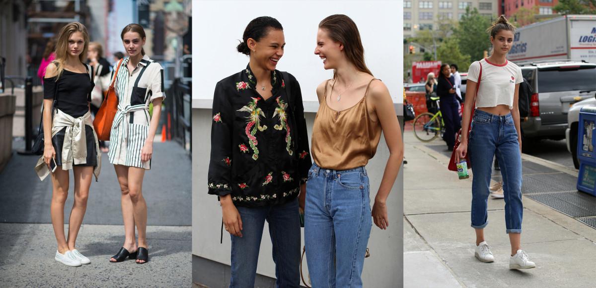 Annika Krijt and Romy Schonberger, Binx Walton and Tilda Lindstam, Taylor Hill. Photos: Imaxtree; Angela Datre/Fashionista (2)