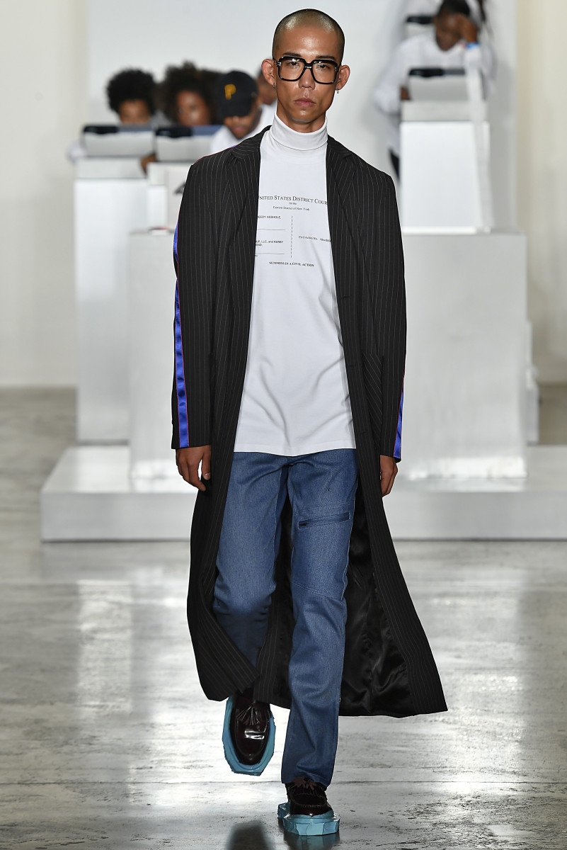 Designer Pyer Moss printed a page from his lawsuit documents on a shirt. Photo: Pyer Moss