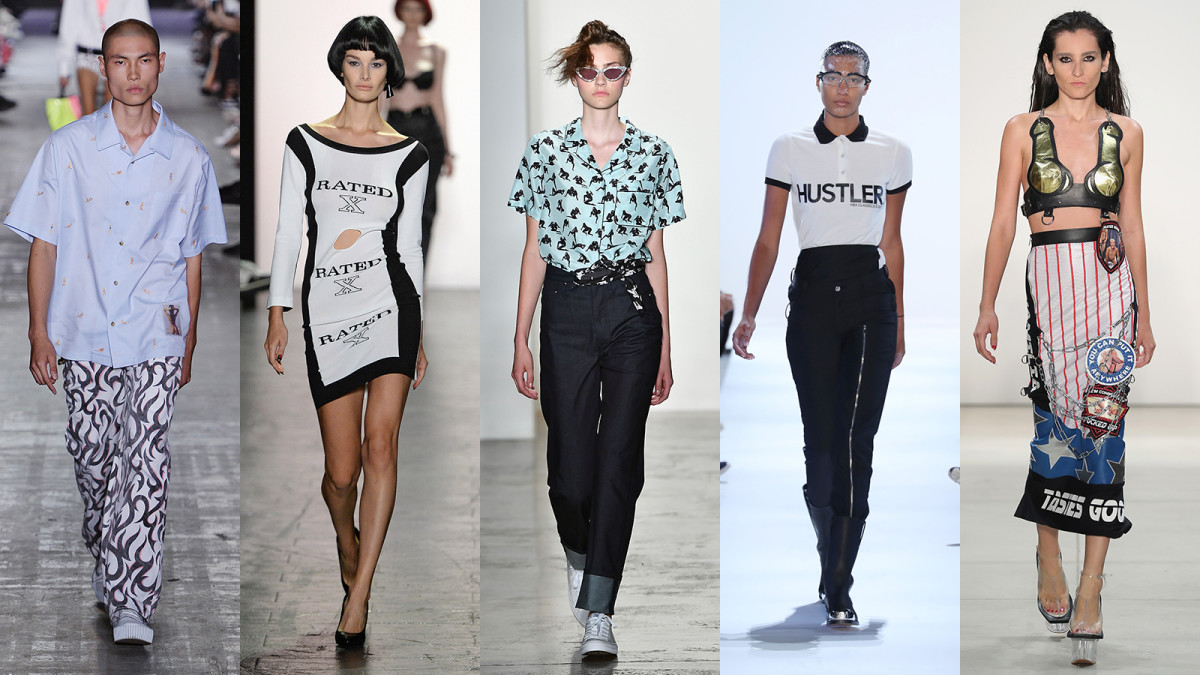 """A whole different meaning to """"fashion grind."""" (Sorry!) From L-R: Alexander Wang, Jeremy Scott, Adam Selman, Hood By Air, Namilia. Photos: Getty Images"""