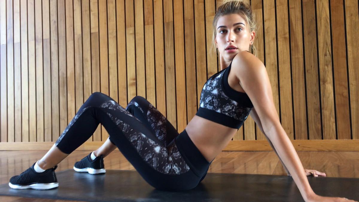 Hailey Baldwin in Prabal Sport. Photo: Imaxtree