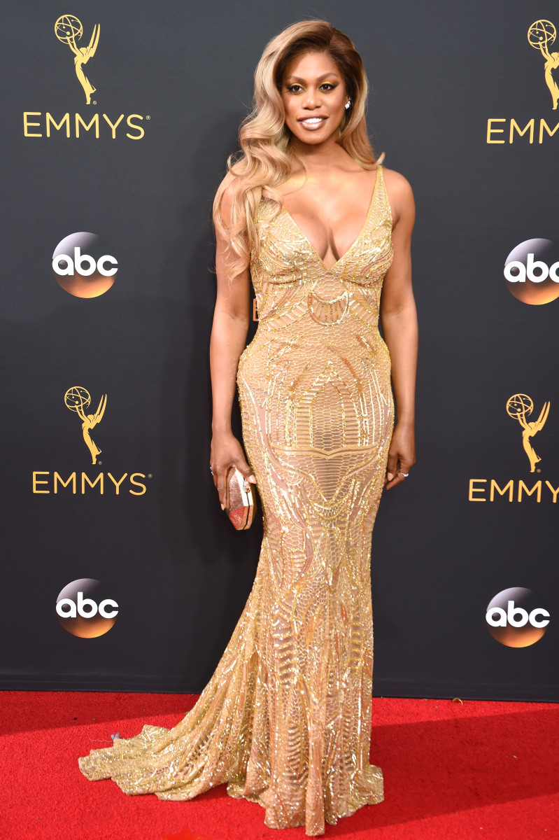 Laverne Cox in Naeem Khan. Photo: Getty Images