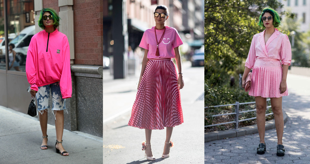 Preetma Singh (left and right) and Giovanna Battaglia (center). Photos: Andrea Datre/Fashionista, Imaxtree (2)