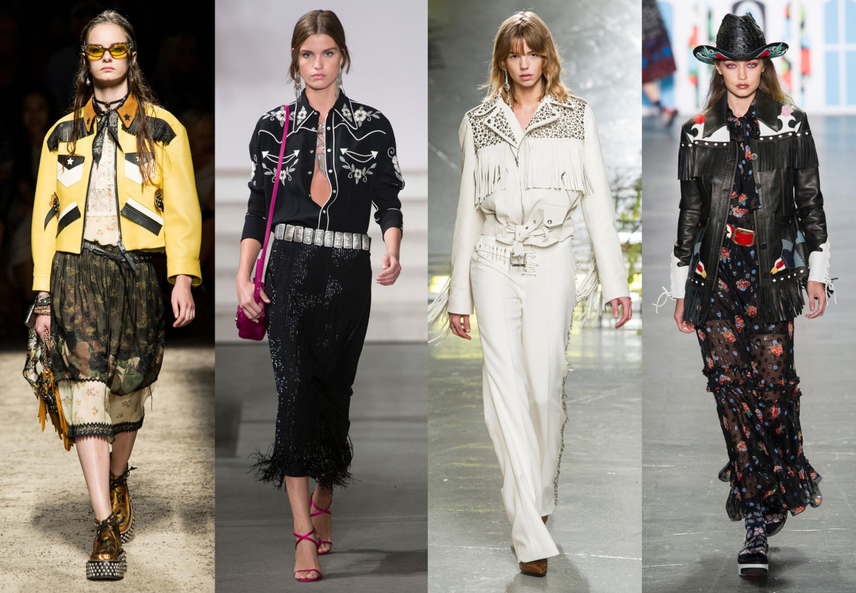 From left to right: Coach, Ralph Lauren (showing its September collection), Rodarte, Anna Sui. Photos: Imaxtree