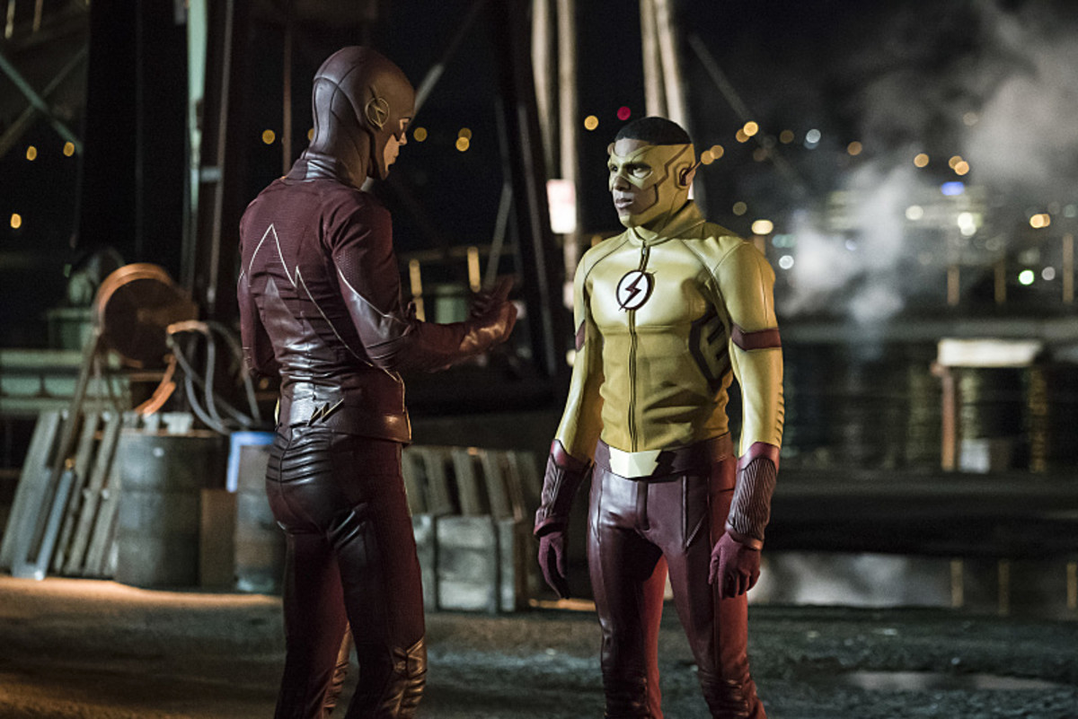 The Flash/Barry Allen (Grant Gustin) and Kid Flash/Wally West (Keiynan Lonsdale) possibly discussing the benefits of full-cowl versus half-cowl. Photo: Katie Yu/The CW