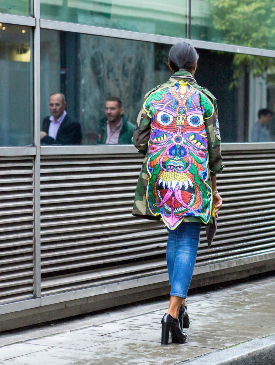 On the street at London Fashion Week. Photo: Emily Malan/Fashionista