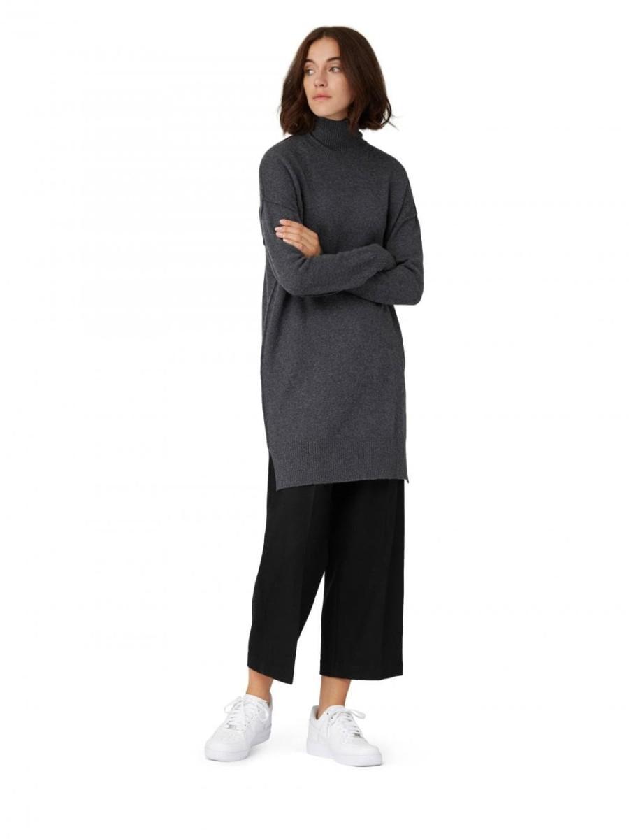 Frank & Oak Mock Neck Mini Sweater Dress in Dark Heather Gray, $95, available at frankandoak.com.