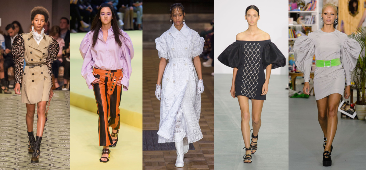 Looks from L-R: Burberry, Marques'Almeida, Simone Rocha, David Koma and Ashley Williams. Photos: Imaxtree