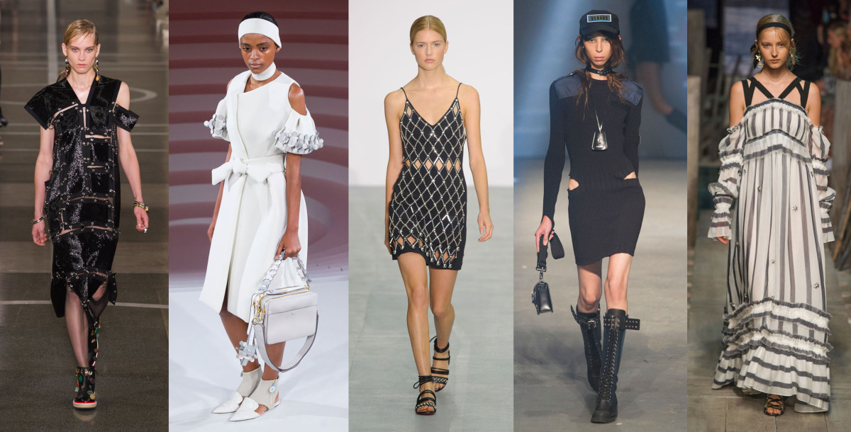 Looks from L-R: Christopher Kane, Anya Hindmarch, David Koma, Versus and Erdem. Photos: Imaxtree