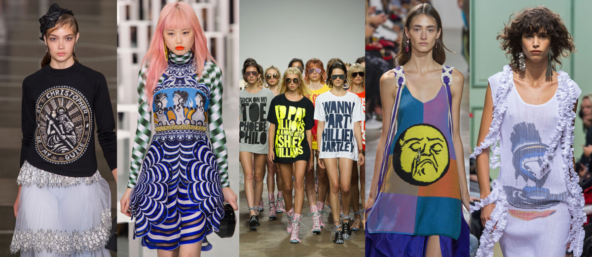 Looks from L-R: Christopher Kane, Mary Katrantzou, House of Holland, Peter Pilotto and J.W. Anderson. Photos: Imaxtree