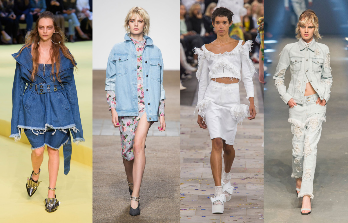 Looks from L-R: Marques'Almeida, Topshop Unique, Preen by Thornton Bregazzi and Versus. Photos: Imaxtree