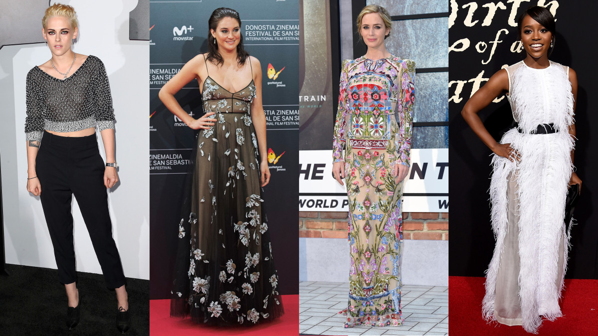 Kristen Stewart in Chanel and Vince, Shailene Woodley in Valentino, Emily Blunt in Alexander McQueen and Aja Naomi King in Huishan Zhang. Photos: see gallery