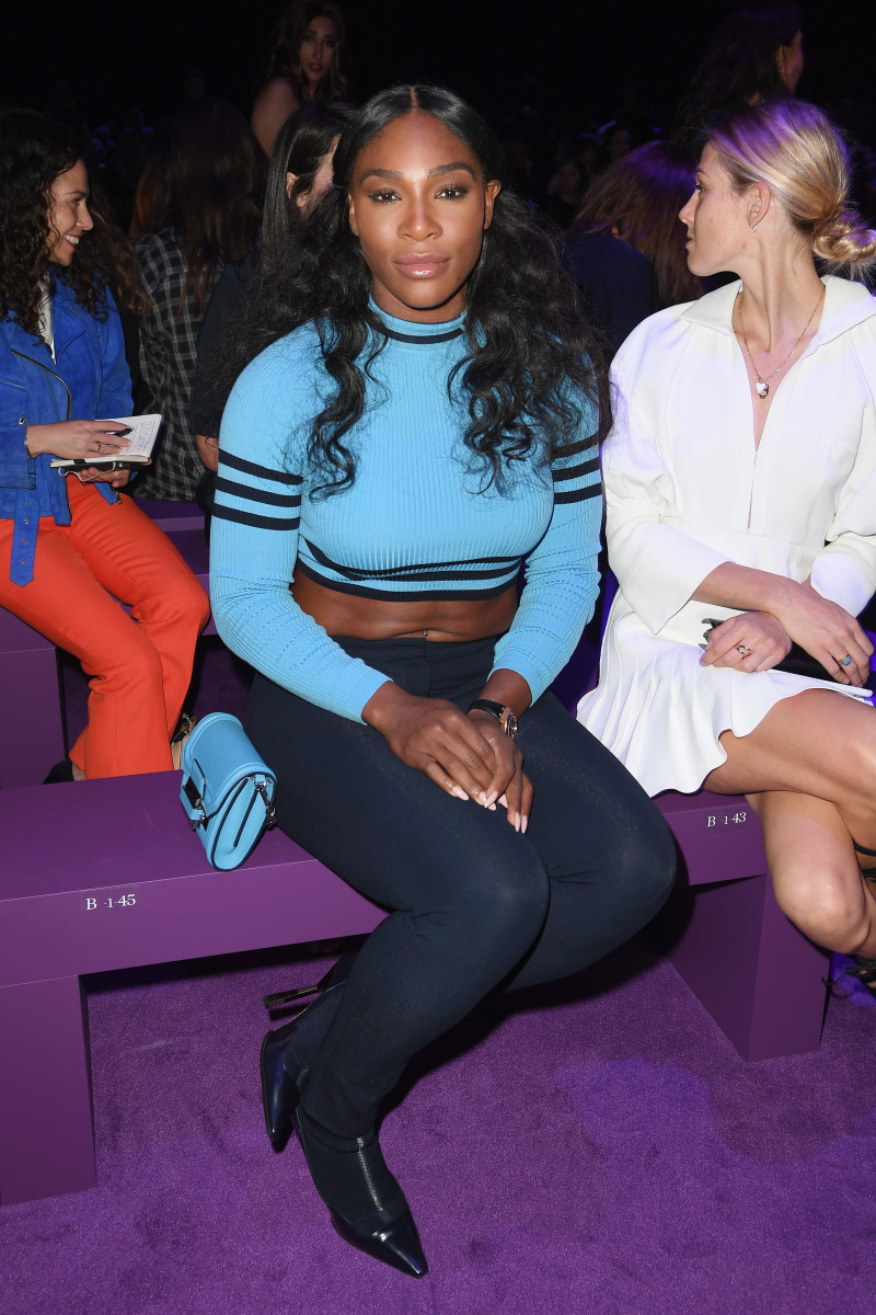 Those abs! Serena Williams at the Versace spring 2017 show during Milan Fashion Week. Photo: Venturelli/WireImage