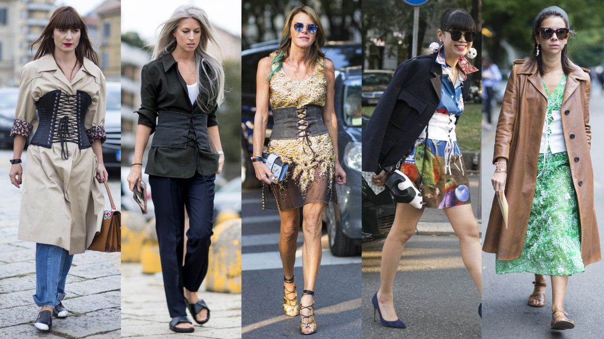 Corsets on the streets of Milan on Wednesday and Thursday. Photos from left to right: Chiara Marina Grioni/Fashionista, Imaxtree, Chiara Marina Grioni/Fashionista, Emily Malan/Fashionista, Chiara Marina Grioni/Fashionista