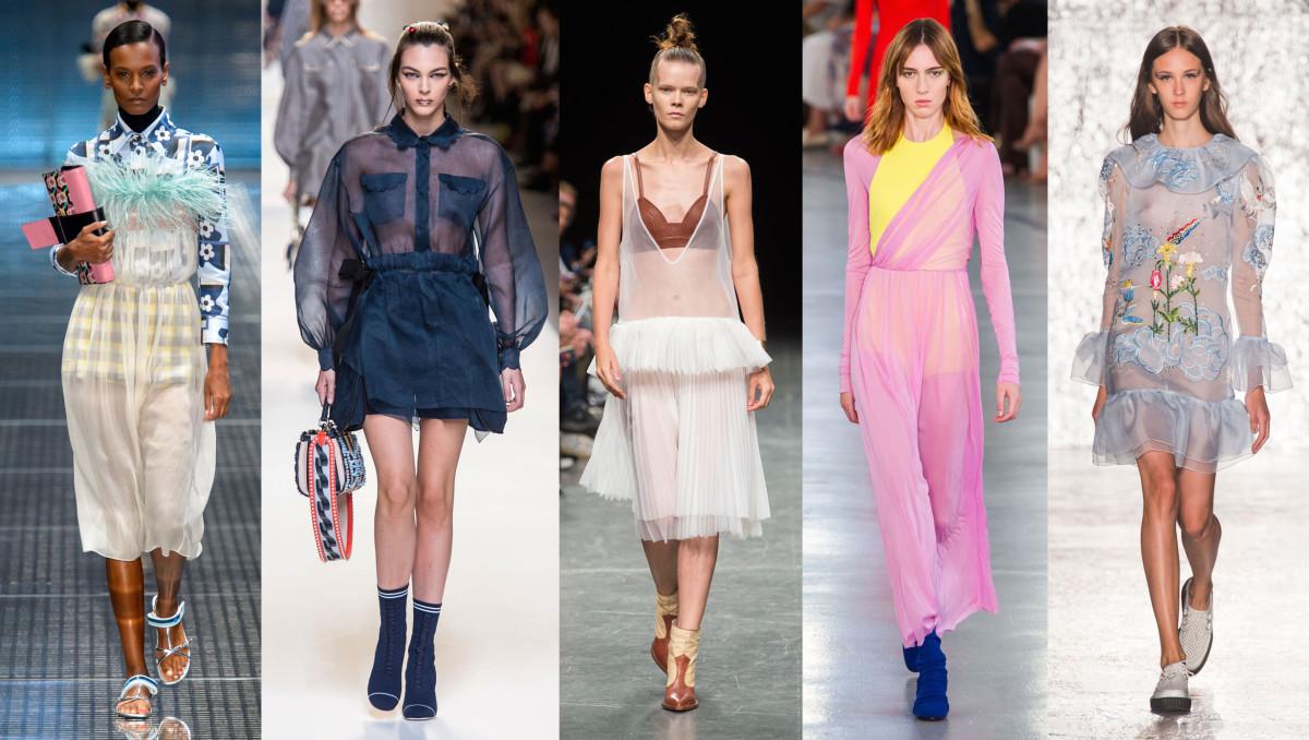 Looks from L-R: Prada, Fendi, Wunderkind, Pucci and Vivetta. Photos: Imaxtree