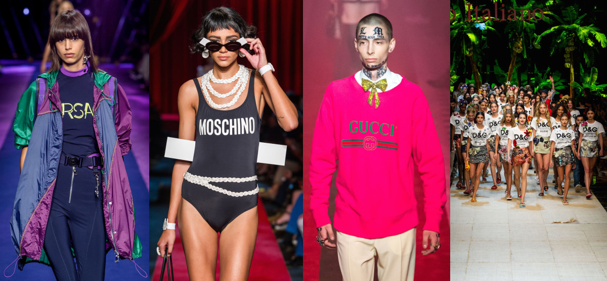 Looks from L-R: Versace, Moschino, Gucci and Dolce & Gabbana. Photos: Imaxtree